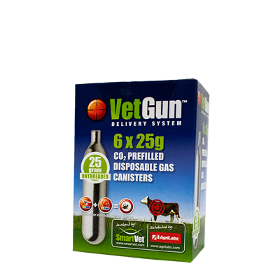 VETGUN CO2 GAS CARTRIDGE 6 x 25gm