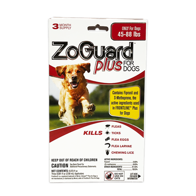 ZOGUARD PLUS FOR DOGS 45-88 lbs 3pk