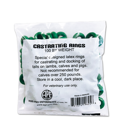 CASTRATOR BANDS GREEN 100ct 119625