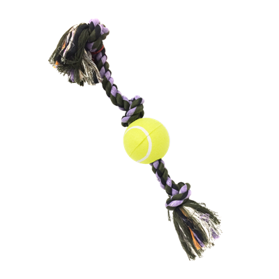 ROPE TUG 3-KNOT TENNIS BALL MD 20in