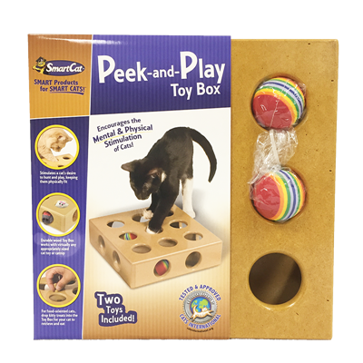 PEEK AND PLAY TOY BOX w/2 TOYS